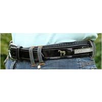 Flexible Fit Bling Black Patent Leather Belt - L ONLY