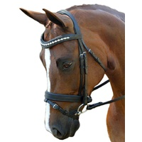 Flexible Fit Gel Pearl & Crystal Bridle - Black - WB SIZE ONLY