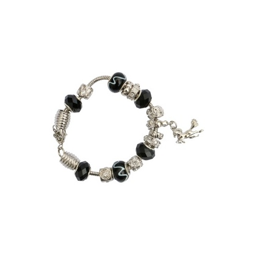 Black And Silver Charm Bracelet