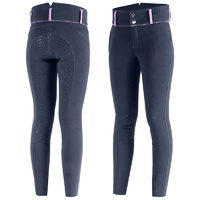 Horze Daniela Junior Full Silicone Seat Breeches - Navy and Pink