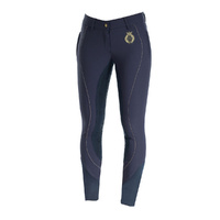 Horze Crescendo Kiana Full Seat Breeches - Navy/Gold