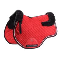 Premier Equine Merino Wool European GP/Jump Saddle Pad - Red/Navy Wool