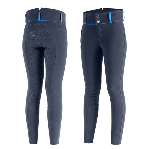 Horze Daniela Junior Silicone Breeches - Navy and Blue