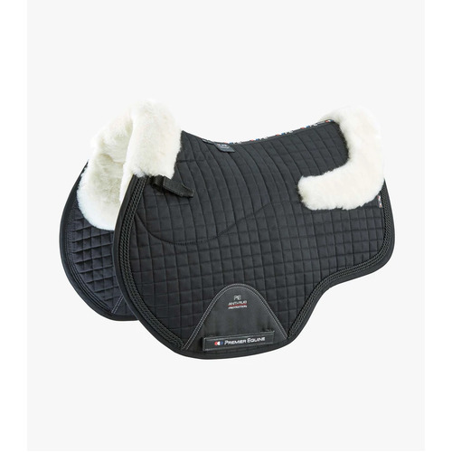 Premier Equine Merino Wool European GP/Jump Saddle Pad - Black/Natural Wool